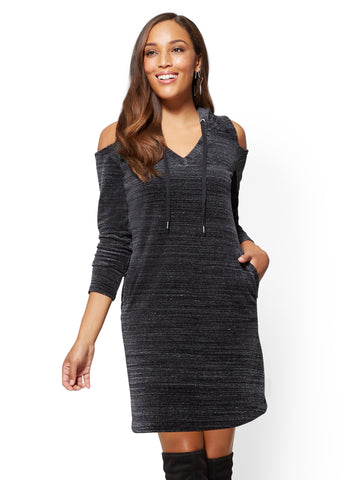 Hooded Cold-Shoulder Dress - Space Dye in Charcoal Jaspe