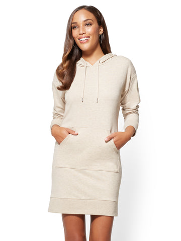 Soho Street - Hooded Sweatshirt Dress in Honey Beige Htr