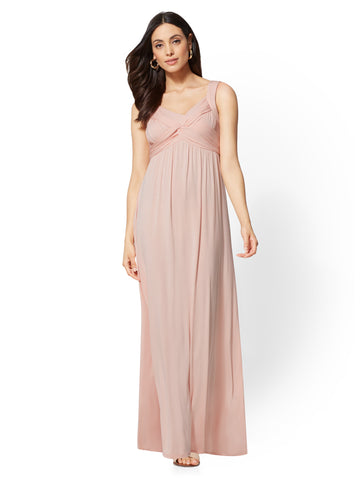 Goddess Crossover Maxi Dress in Pink Honeybunch