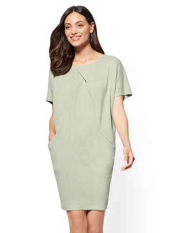 Soho Street - Super-Soft Knit Shift Dress in Soothing Sage