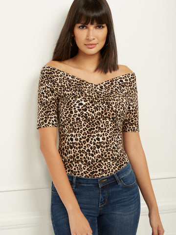 Leopard-Print Off-The-Shoulder Top in Charming Pearl