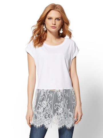 White Lace-Trim Tee in Optic White