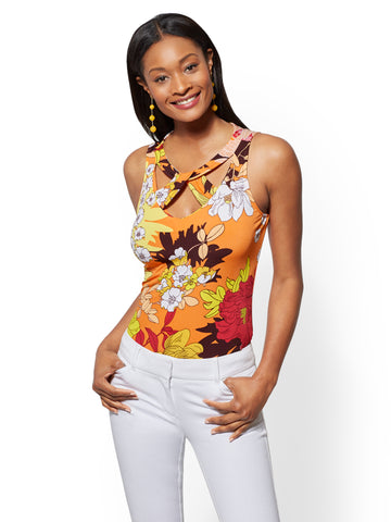 7th Avenue - Floral Cutout Shell in Orange Surf