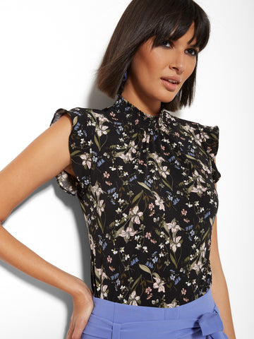 29c0b4cdf5c NEW YORK   COMPANY 7th Avenue - Floral Smocked Ruffled-Sleeve Top in Black