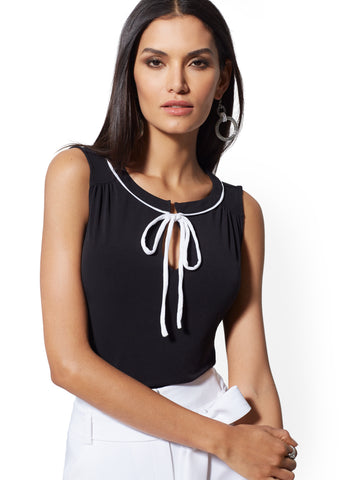 5eec1c956a New York & Company Piped & Tie-Detail Sleeveless Top - 7th Avenue ...