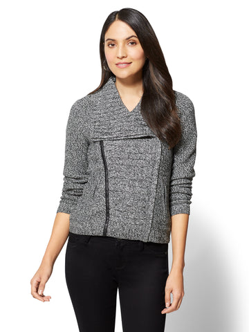 Marled Zipper Front Cardigan in Black & Winter White