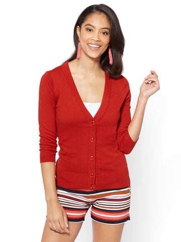 7th Avenue - V-Neck Chelsea Cardigan - Novelty Button in Stoplight Red