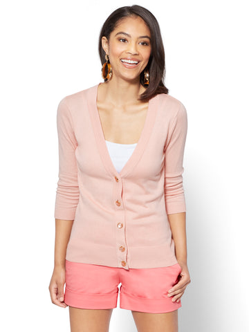 7th Avenue - V-Neck Chelsea Cardigan - Novelty Button in Pink Ambrosia