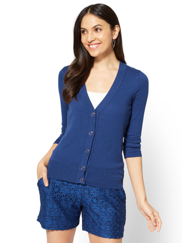 7th Avenue - V-Neck Chelsea Cardigan - Novelty Button in True Indigo