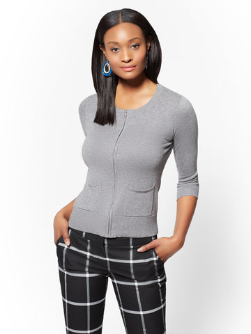 7th Avenue - Zip-Front Cardigan in Medium Heather Grey