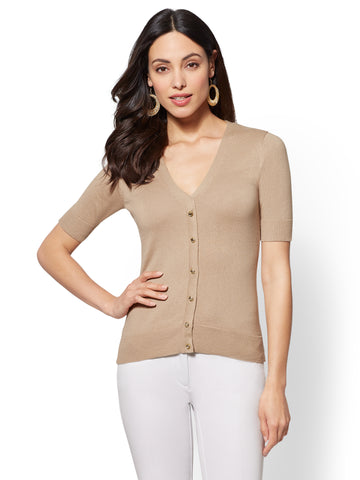 7th Avenue - V-Neck Chelsea Cardigan in Sensuous Sand