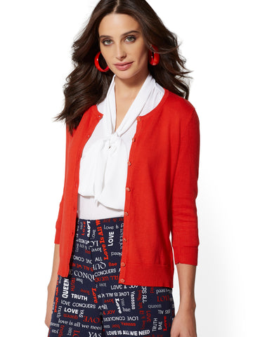 7th Avenue - Enamel-Button Cardigan in Bell Pepper Red