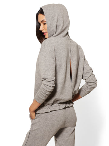 Soho Street - Split-Back Hooded Sweatshirt in Heather Grey