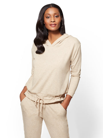 Soho Street - Split-Back Hooded Sweatshirt in Honey Beige