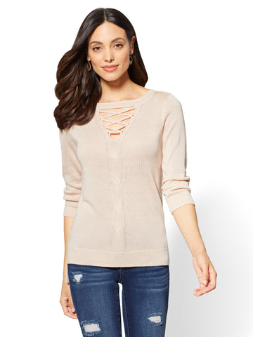 Lace-Up Cable-Knit Sweater in Pure Peach