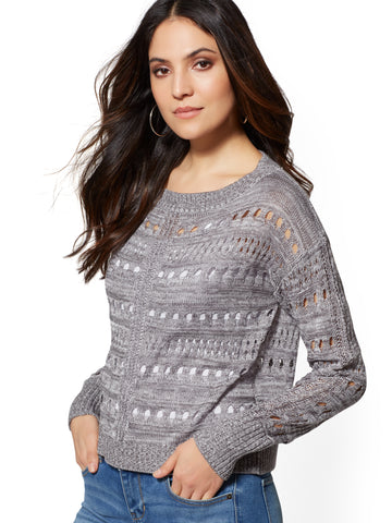Marled Open-Stitch Sweater in Carlson Grey