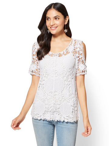 Crochet Cold-Shoulder Top in Paper White