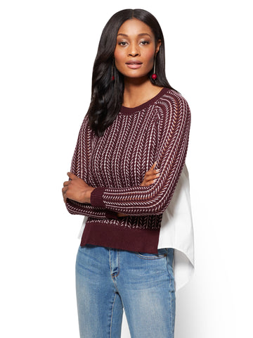 Two-Tone Twofer Sweater in True Burgundy