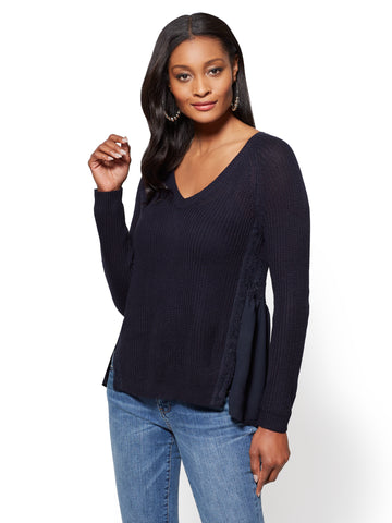 V-Neck Twofer Sweater in Rich Navy