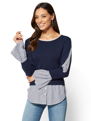 Twofer Sweater - Stripe  in Grand Sapphire
