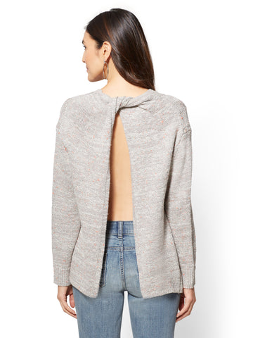 Split-Back Cable-Knit Sweater in Calm Heather Grey