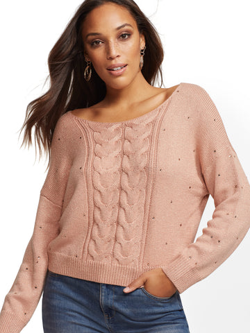 Peach Metallic Rhinestone V-Neck Sweater in Peach Organza