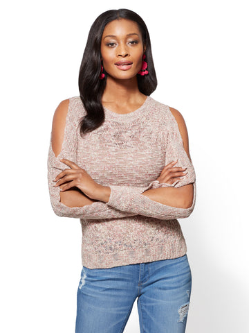 Open-Sleeve Crewneck Sweater - Rose in Antique Rose