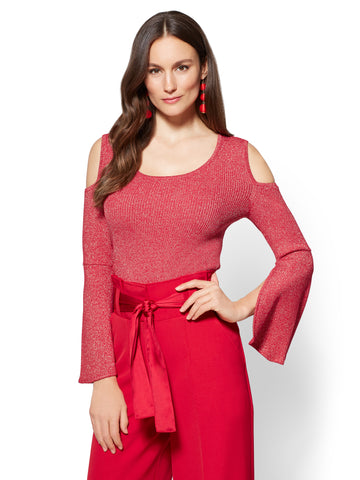 7th Avenue - Metallic Bell-Sleeve Sweater in Flamenco Red