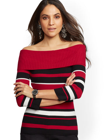 7th Avenue - Stripe Off-The-Shoulder Sweater in Coco Red