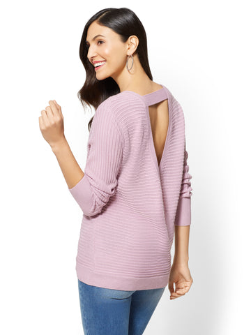 Envelope-Back Sweater in Violet Naples