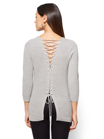 Back Lace-Up Pullover in Calm Heather Grey