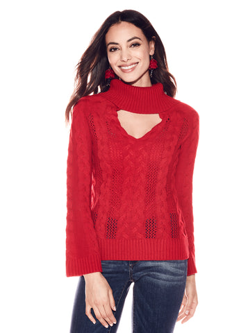 Choker Turtleneck Sweater in Flamenco Red