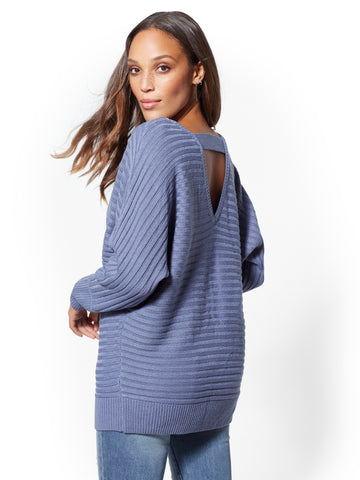 V-Neck Dolman Sweater in Stormy Blue
