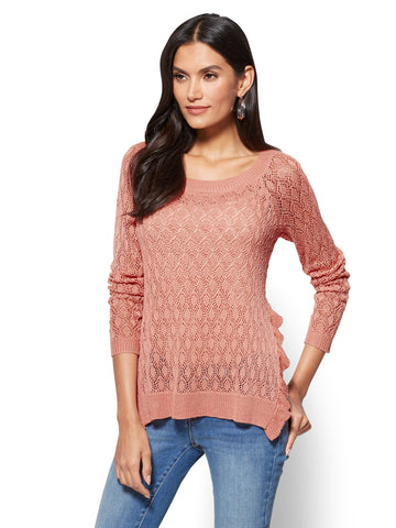 Ruffled Open-Stitch Sweater in Prawn