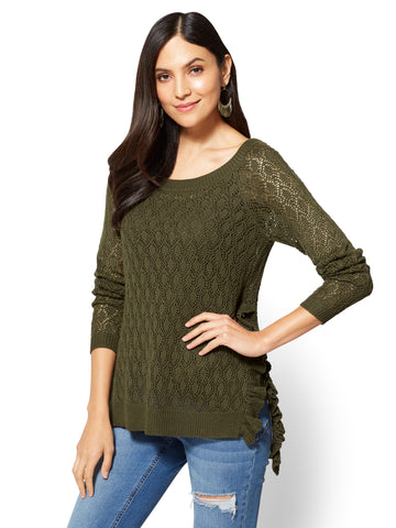 Ruffled Open-Stitch Sweater in Woodland Green