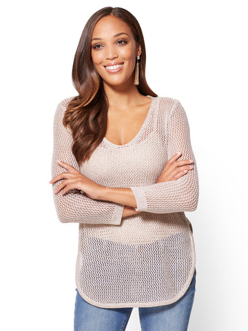 Lace-Up Open-Stitch Sweater in Medium Taupe