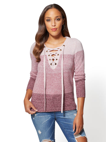 Lace-Up Grommet V-Neck Sweater - Ombre in Antique Rose