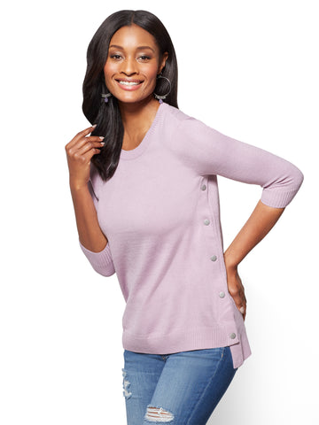 Side-Snap Hi-Lo Tunic Sweater in Violet Naples