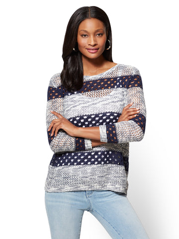 Open-Stitch Sweater - Stripe in Grand Sapphire