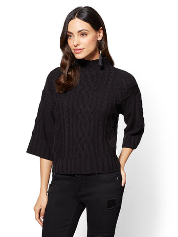 Mock-Neck Cable-Knit Sweater in Black