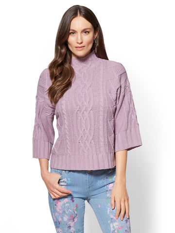 Mock-Neck Cable-Knit Sweater in Violet Naples