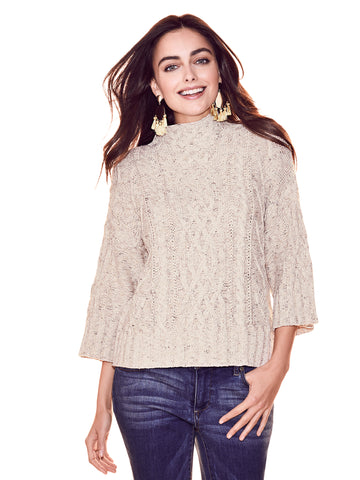 Cable-Knit Mock-Neck Sweater in Honey Beige Htr