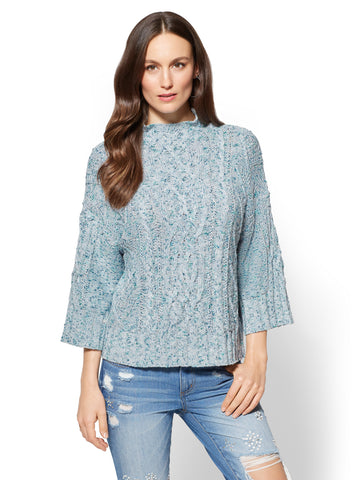 Cable-Knit Mock-Neck Sweater in Blue Willow