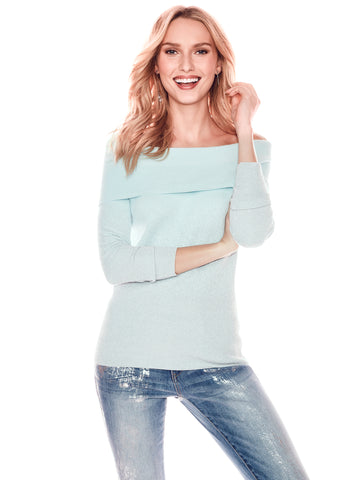 Ombre Metallic Off-The-Shoulder Sweater in Crystalline