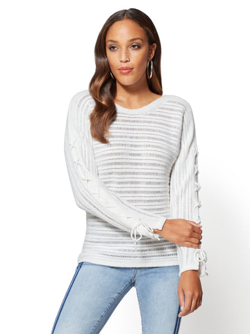Lace-Up Sleeve Textured Sweater in Winter White