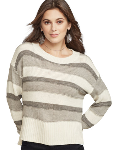 Metallic Stripe Hi-Lo Sweater in Calm Heather Grey