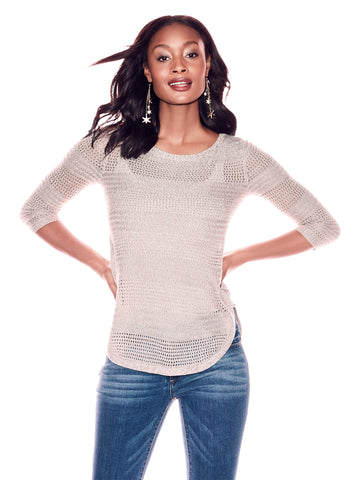 Lace-Up Marled Sweater in Medium Taupe