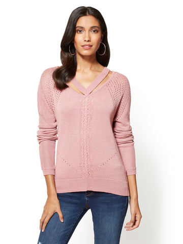Metallic V-Neck Cutout Sweater in Antique Rose