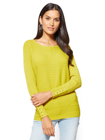 Lace-Up Cuff Dolman Sweater  in Renewing Green