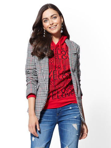 7th Avenue - Black Plaid Open-Front Blazer in Black